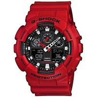 Casio Mens XL G-Shock - Ana-Digi - Red Design -  Black Negative Digital Display