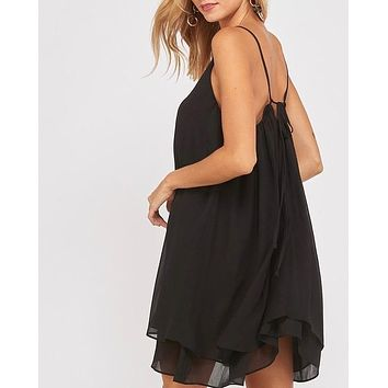 essential double layered v-neck sleeveless dress - black