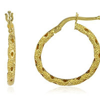 14K Yellow Gold Italian Textured Hoop Earrings 20mm