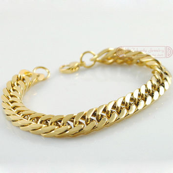 Gold Plated Stainless Steel Bracelets Curb Cuban Chain Men Bracelet Jewelry pulseira masculina 2017, Christmas Gift
