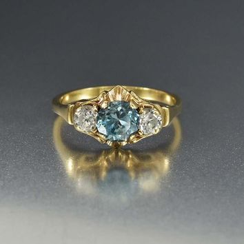 Art Deco White And Blue Topaz Engagement Ring