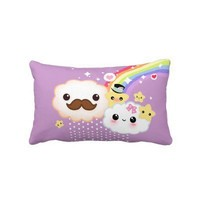 Kawaii cloud couple with rainbow and stars throw pillow from Zazzle.com