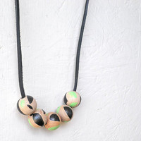 Wooden Bead Necklace - Large Wooden Beads - Black and Green Necklace - Geometry Necklace - Asymmetry