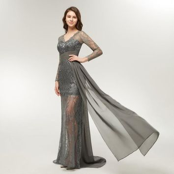 Grey Lace Long Sleeve Evening Dresses Special Occasion Gossip Girl Serena Formal Prom Dresses Party Gowns