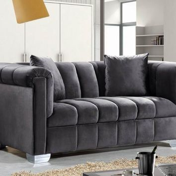 Kayla Grey Velvet Loveseat