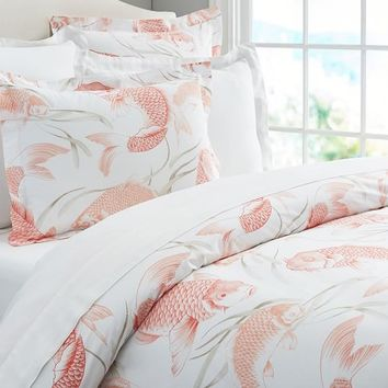 Koi Fish Organic Duvet Cover, Full/Queen, Coral