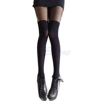 1Pcs Patchwork New Sexy Girl's Pantyhose Design Pattern Solid Stockings Women Over The Knee Pantyhose Tights