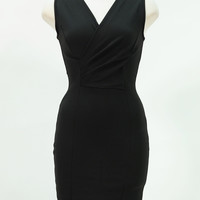 Stretch v neck black mini cocktail dress