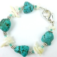 Kingman Blue Nugget Turquoise White Mother of Pearl Sterling Bracelet