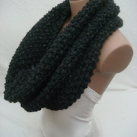 Hand Knitted, 100% Wool, Unisex, Cowl/Scarf/Neck Warmer/Loop Scarf (Dark Gray) by Arzu's Style