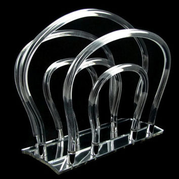 Clearly Classy - Vintage Dorothy Thorpe Lucite Magazine Rack, Arched Tubes on a Mirrored Base, Iconic Mid-Century Modern Design