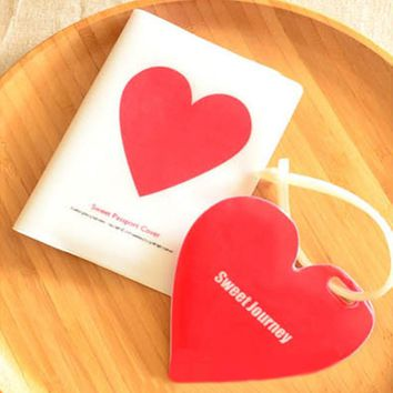 Sweet Travel Accessories Passport Holder + Luggage Tag + Silicone Strap love heart and clouds pattern Passport Case