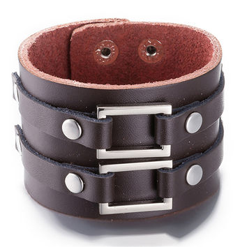Vintage Genuine Leather Punk Bracelets Fashion Brand Punk Wide Cuff Charm Bracelets & Bangle for Men Jewelry Accessory