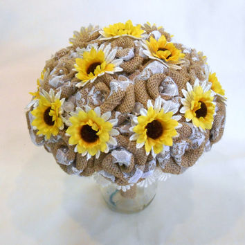 Sunflower Burlap Wedding Bouquet, Bridal Bouquet, Burlap Wedding, Fabric Bouquet, Burlap and Sunflower Bouquet, Rustic Bouquet, Alternative