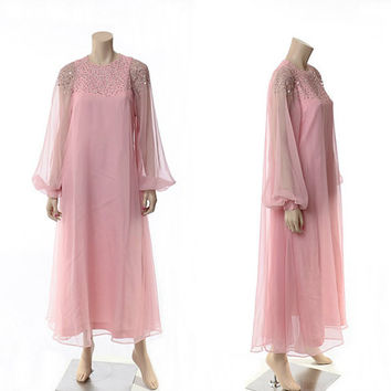 Vintage 60s Pink Chiffon Rhinestone Deco Dress 1960s Arbeo Aventura Carrie Couture Sheer Draped Grecian Formal Party Prom Maxi Gown