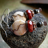 Coral Moon Earrings .Fossilized & Red Coral, Natural Jet, Oxidized Copper