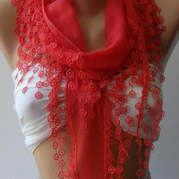 pomegranate flower  - Elegance Shawl / Scarf with Lace Edge