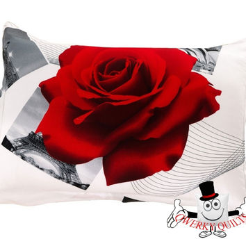 3D White Red Rose Postcard Pillowcase