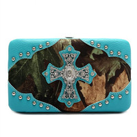 * Turquoise Camouflage Cross Deco Hard Case Wallet  M