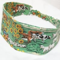 Wide Fabric Headband Reversible Wrap Around Country Scene Cows Horses Sheep Sunflowers Chickens Hay  Hair Wear Women Teens