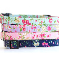 Floral Cat Collar with Breakaway Safety Buckle - 3/8 inch width - Pattern: Cottage Rose in Navy, Mint, Purple, and Pink