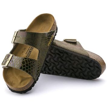 Sale Birkenstock Arizona Birko Flor Shiny Snake Olive 1000260 Sandals