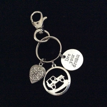 Live Your Dream It's A Jeep Thing Key Chain Silver Key Ring Gift Compass Heart