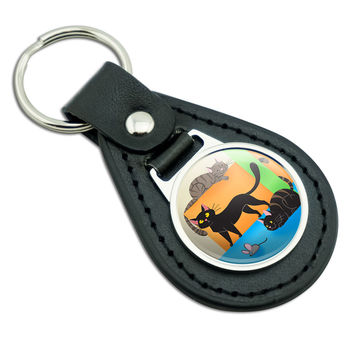 Cat Caboodle Black Leather Keychain