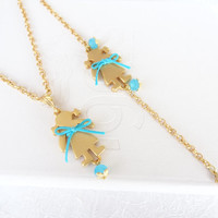 Gold Flower girl jewelry set,djustable necklace and bracelet, wedding jewelry flower girl gift