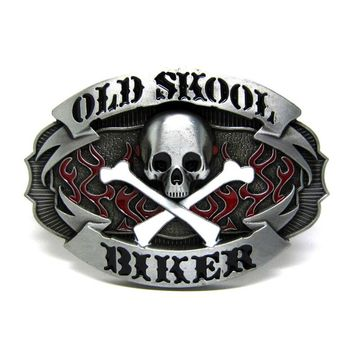 Old Skool Biker Skull Belt Buckle For Mens Accessories Metal Buckles Suitable For 4cm Width Belt