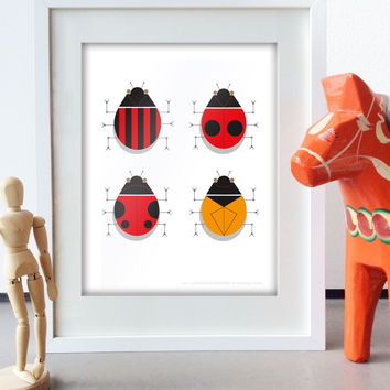 Retro Mid Century Art Lady Bug art print retro mid century Style Nursery Art Design graphic poster Lady Bug Art