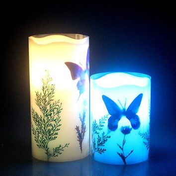 flameless butterfly led wax candle light/wireless remote control