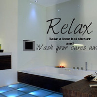 Wall Decal Quote Relax Bathroom Shower Inspirational Vinyl Sticker Word