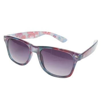 Cotton Candy Floral Wayfarer Sunglasses | Wet Seal