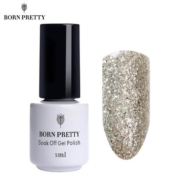 BORN PRETTY Glitter Sand Nail Gel Polish 5ml Soak Off UV Gel Platinum Silver Series Nail Art Gel 12 Colors Available