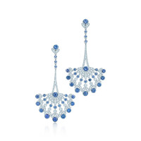 Tiffany & Co. - Earrings in platinum with Montana sapphires and diamonds.
