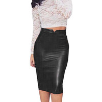 Women Fashion 2016 Solid Pu Leather Badycon Skirt Ladies High Waist Pencil Skirt Black Color pencil skirt Saias Femininas