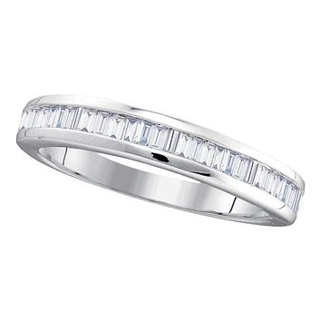 10kt White Gold Women's Baguette Diamond Wedding Anniversary Band 1/2 Cttw - FREE Shipping (US/CAN)
