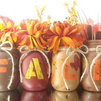 FALL, set of four Hand Painted Mason Jars   Rustic - Style Home Decor -- Red and Brown Painted Mason Jars