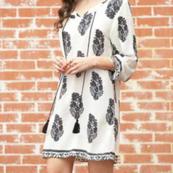 White Long Sleeve Lacing Floral Print Dress