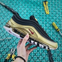 Nike Air Max 97 Qs Metallic Pack Black Gold Sport Running Shoes - Best Online Sale