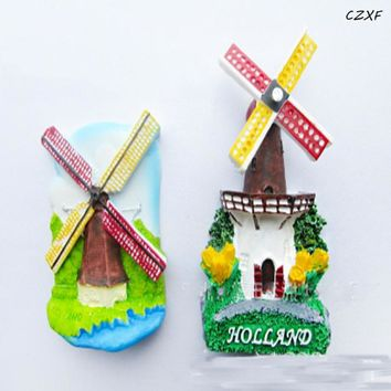1 Pcs Lovely Quality 3D Fridge Magnet, Dutch Windmills, Holland Souvenir
