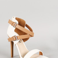Anne Michelle Lizard Criss Cross Ankle Strap Open Toe Heel