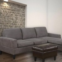 Grey 3-PCS Reversible Sofa Set with Ottoman