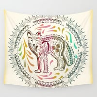 Boho Ornamental Fox Wall Tapestry