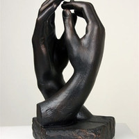 Rodin Cathedral Clasping Hands Museum Statue 10H