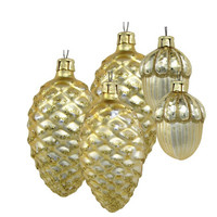 Gold Glass Glitter Pinecone Glass Christmas Ornaments Dept 56
