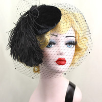 Black Birdcage Veil, Black Veil, Black Hat, Feather Fascinator, Feather Hat, Cocktail Hat, Goth Wedding, High Fashion, Pin Up, Victorian Hat