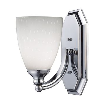 Bath And Spa 1 Light Vanity In Polished Chrome And Simple White Glass