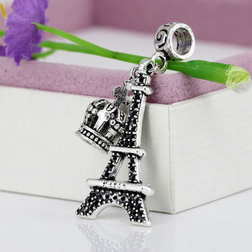 New Alloy Bead Charm Antique Crown & Eiffel Tower Pendant Beads Fit Women Pandora Bracelets & Bangles DIY Jewelry YW15607